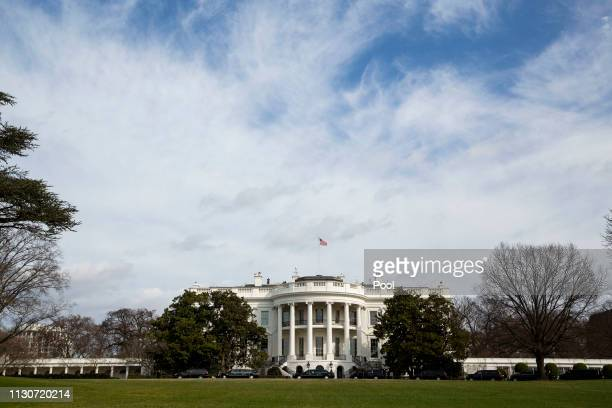Limousines are parked in the driveway on the South Lawn of the White House before the president's trip to the Pentagon on March 15 2019 in Washington...