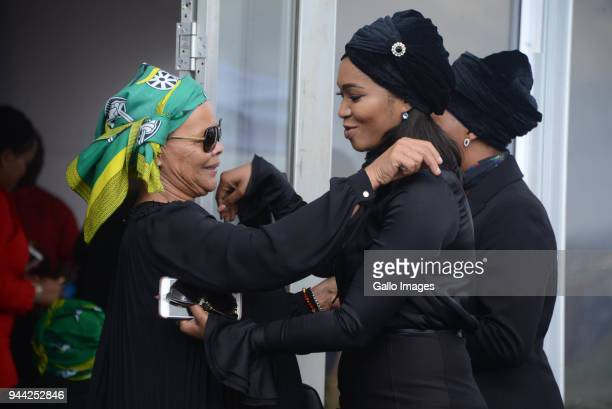 Limpho Hani and Sinazo Masina during the 25 year anniversary commemorating Chris Hanis death on April 10 2018 in Boksburg South Africa Hani was shot...