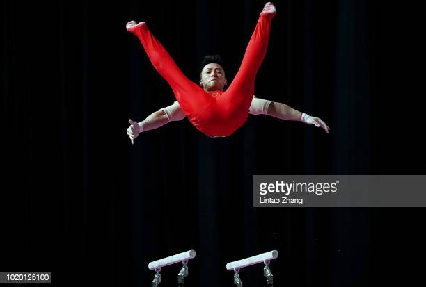 Lin Chaopan of China competes on the Parallel Bars in qualification one of the artistic gymnastics event on day two of the Asian Games on August 20,...