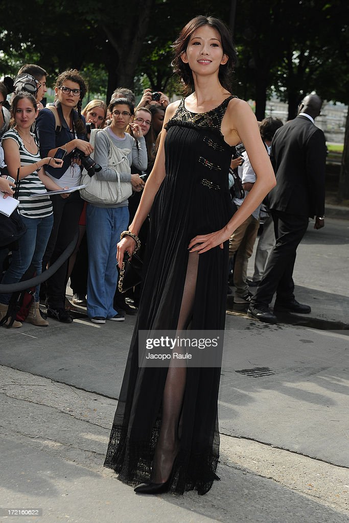 Lin Chi-ling attends the Chanel show as part of Paris Fashion Week Haute-Couture Fall/Winter 2013-2014 at Grand Palais on July 2, 2013 in Paris, France.