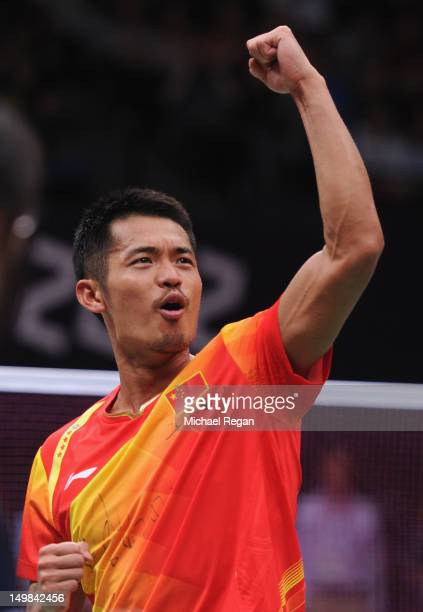 Lin Dan of China celebrates winning his Men's Singles Badminton Gold Medal match against Chong Wei Lee of Malaysia on Day 9 of the London 2012...