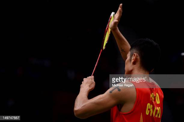 Lin Dan of China celebrates winning the Men's Singles Badminton SemiFinal against Hyun Il Lee of Korea on Day 7 of the London 2012 Olympic Games at...