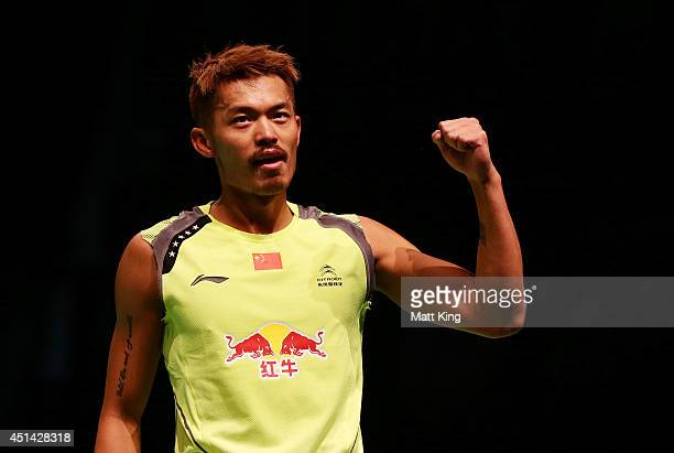 Lin Dan of China celebrates winning the Mens Singles Final against Simon Santoso of Indonesia during the Australian Badminton Open at Sydney Olympic...