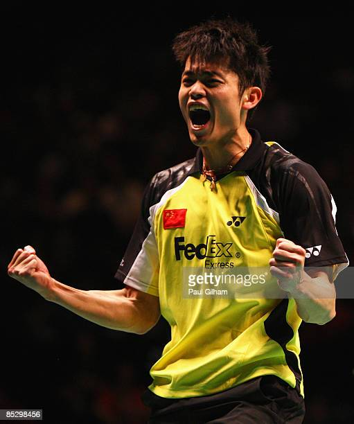 Lin Dan of China celebrates winning the men's singles final against Lee Chong Wei of Malaysia during the Yonex All England Open Badminton...