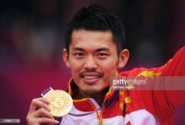 Lin Dan of China celebrates with his Gold medal after winning his Men's Singles Badminton Gold Medal match against Chong Wei Lee of Malaysia on Day 9...