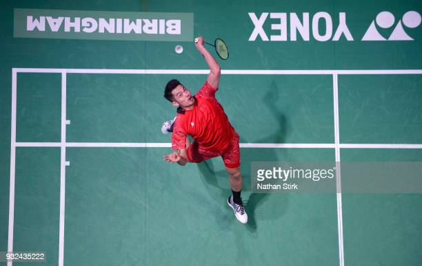 Lin Dan of China competes against Wang Tzu Wei of Taiwan during day two of the Yonex All England Open Badminton Championships at Arena Birmingham on...