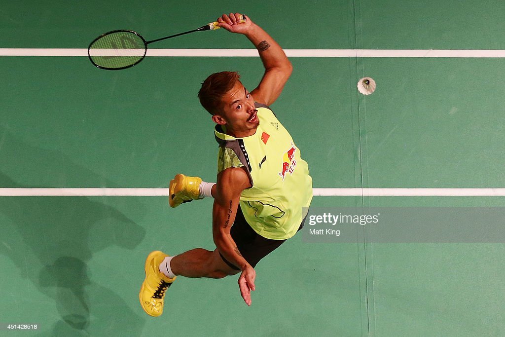 Lin Dan of China competes in the Mens Singles Final ...