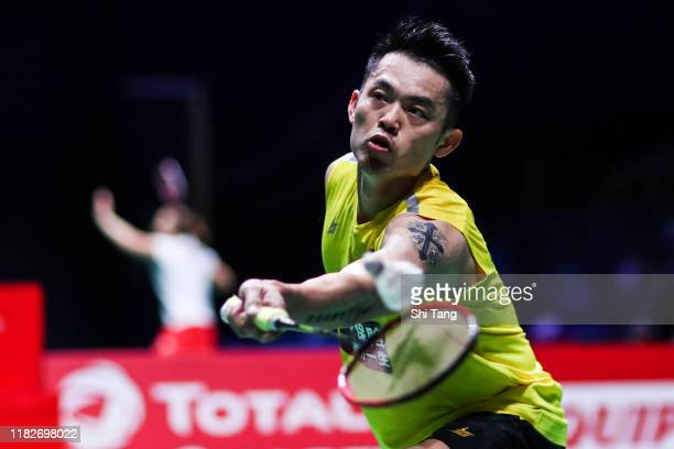 Lin Dan of China competes in the Men's Singles first round match against Brice Leverdez of France on day one of the French Open at Stade Pierre de...