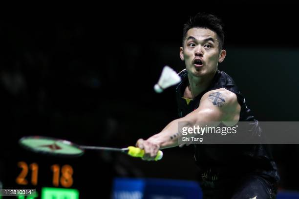 Lin Dan of China competes in the Men's Singles second round match against HansKristian Solberg Vittinghus of Denmark during day three of the Yonex...