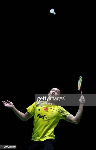 Lin Dan of China in action against Kestutis Navickas of Lithuania during day two of the BWF World Badminton Championships and LOCOG Test Event for...