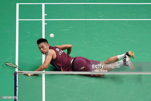 Lin Dan of China in action against Mark Caljouw of Netherlands on day one of Total BWF World Championships 2018 at Nanjing Youth Olympic Games Sport...