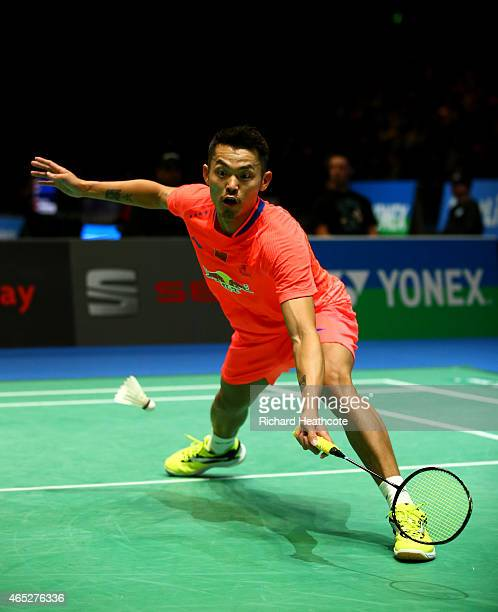 Lin Dan of China in action as he beats Tian Houwei of China in the men's singles during day three of YONEX All England Open Badminton Championships...