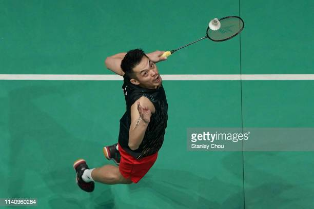 Lin Dan of China in action on day six of the Badminton Malaysia Open at Axiata Arena on April 07 2019 in Kuala Lumpur Malaysia