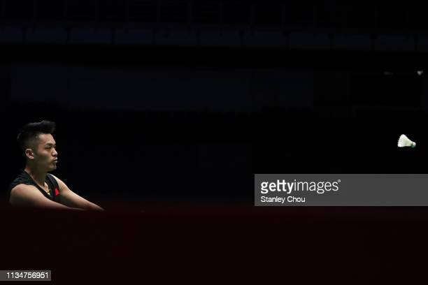 Lin Dan of China in action on day two of the Badminton Malaysia Open at Axiata Arena on April 3 2019 in Kuala Lumpur Malaysia