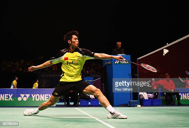 Lin Dan of China in action on his way to winning against Chen Jin of China during the semi-finals of the Yonex All England Open Badminton...