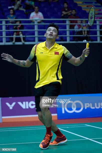 Lin Dan of China plays a return shot to Ihsan Maulana Mustofa of Indonesia during the Men Singles round one match of the Perodua Malaysia Masters...