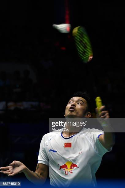 Lin Dan of China plays a return shot to Jonatan Christie of Indonesia  during the men s e610e8d0b