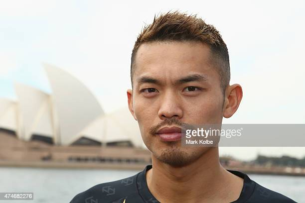 Lin Dan of China poses during the Australian Badminton Open 2015 media call at Campbells Cove The Rocks on May 25 2015 in Sydney Australia