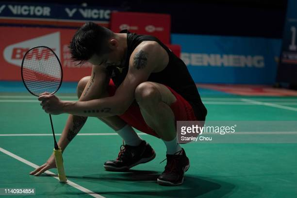 Lin Dan of China reacts after he defeated his compatriot Chen Long on day six of the Badminton Malaysia Open at Axiata Arena on April 07 2019 in...