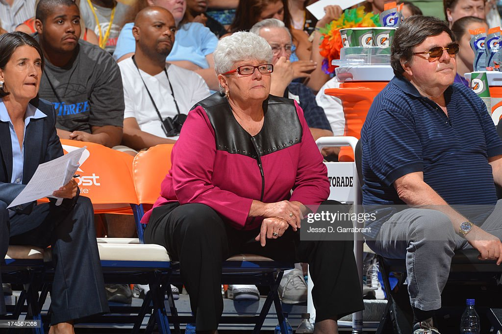 Lin Dunn of the Eastern Conference All-Stars looks on during the 2013 Boost Mobile WNBA All-Star Game on July 27, 2013 at Mohegan Sun Arena in Uncasville, Connecticut.