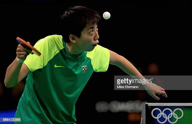 Lin Gui of Brazil plays a Women's Singles first round match against Galia Dvorak of Spain on Day 1 of the Rio 2016 Olympic Games at Riocentro...