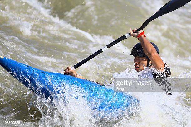 Lin Hsiang Chun of Taipei competes in the Men's Kayak Single heats at the International Rowing Centre during day one of the 16th Asian Games...