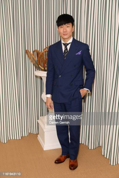 Lin in Ralph Lauren Purple Label attends the Polo Ralph Lauren suite during the Wimbledon Tennis Championship Men's Final at All England Lawn Tennis...