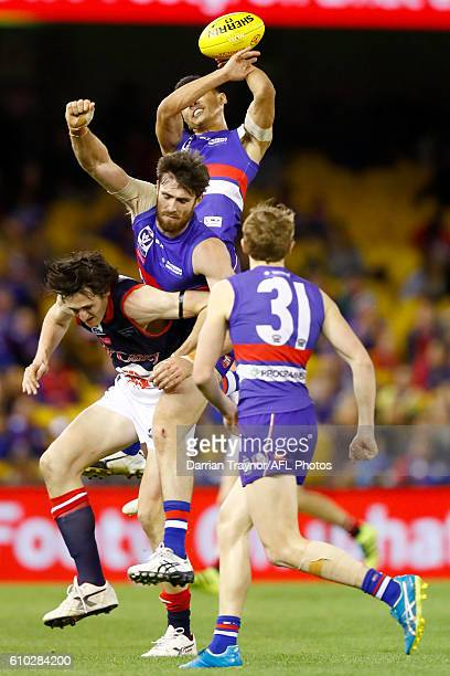 Lin Jong of the Bulldogs attempts to mark the ball during the VFL Grand Final match between the Casey Scorpions and the Footscray Bulldogs at Etihad...