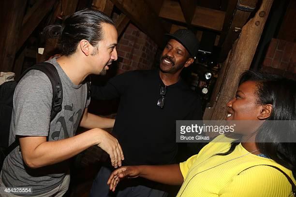 Lin Manuel Miranda Denzel Washington and Olivia Washington chat backstage at the hit musical Hamilton on Broadway at The Richard Rogers Theater on...