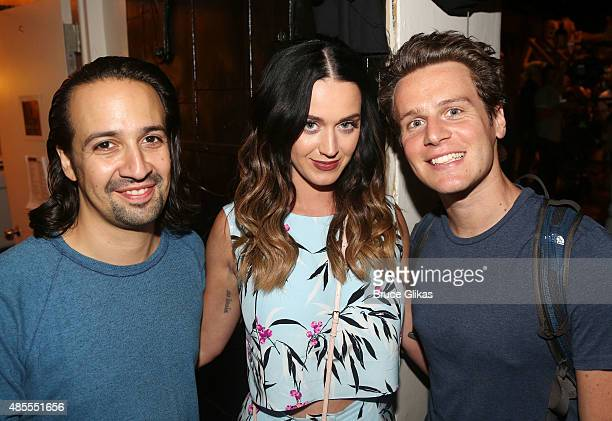 Lin Manuel Miranda Katy Perry and Jonathan Groff pose backstage at the hit musical Hamilton on Broadway at The Richard Rogers Theater on August 27...