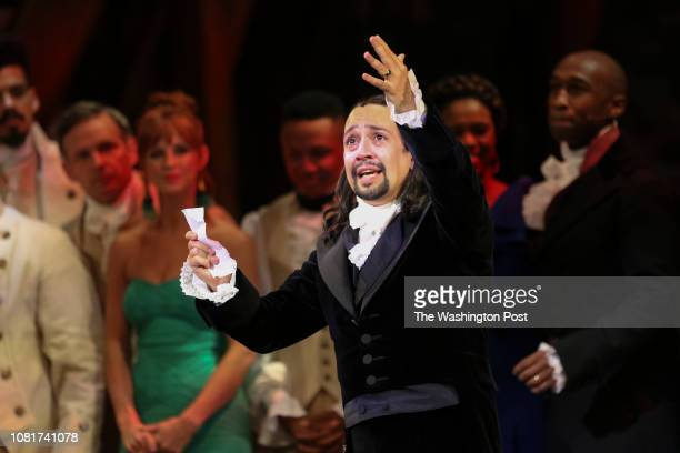 January 11: Lin Manuel Miranda thanks the audience after his performance of the award-winning Broadway musical, Hamilton, in Puerto Rico. Miranda,...