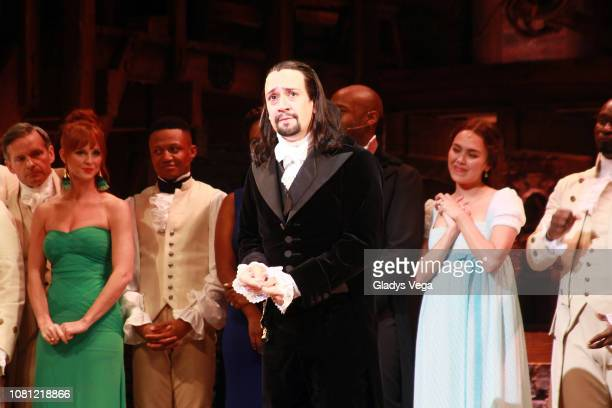 Lin Manuel Miranda with the cast of Hamilton speaks to the audience at the end of the play as part of the opening night at Centro de Bellas Artes on...