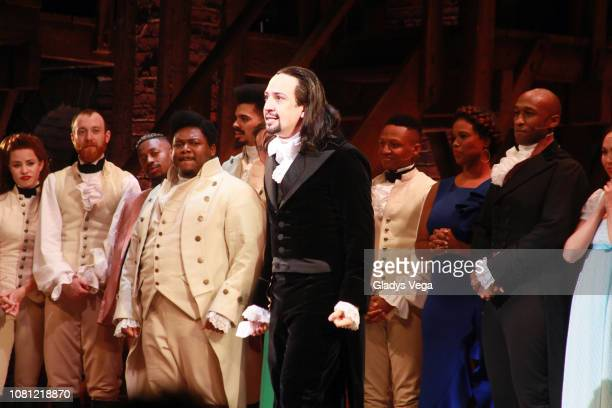 Lin- Manuel Miranda with the cast of Hamilton speaks to the audience at the end of the play as part of the opening night at Centro de Bellas Artes on...