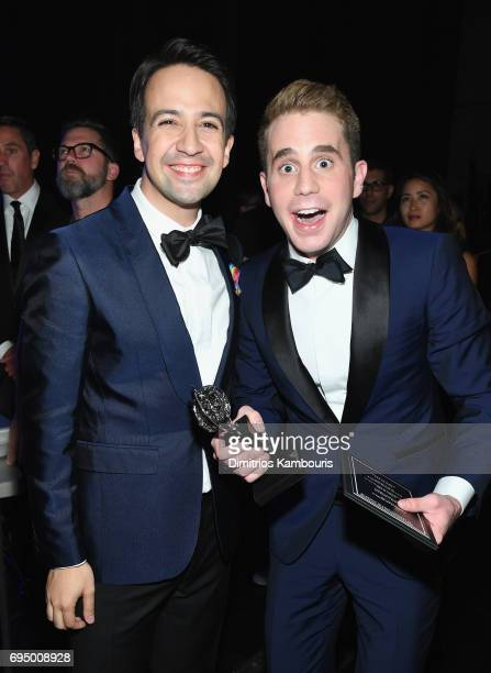 Lin ManuelMiranda and Ben Platt attend the 2017 Tony Awards Backstage Audience on June 11 2017 in New York City