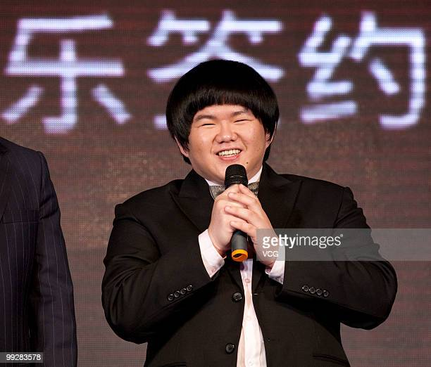 Lin Yu Chun nicknamed as Taiwan's Susan Boyle speaks during the signing ceremony with Sony Music on May 13 2010 in Shanghai China