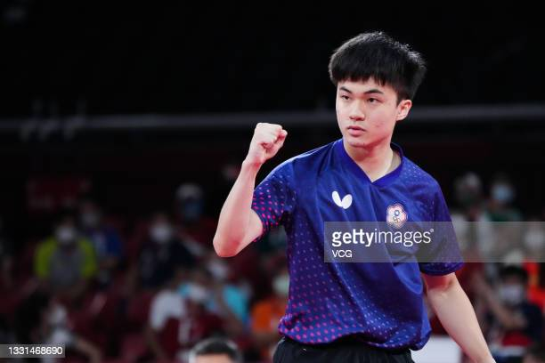Lin Yun-ju of Team Chinese Taipei reacts against Dimitrij Ovtcharov of Team Germany in Men's Table Tennis Singles Bronze Medal match on day seven of...