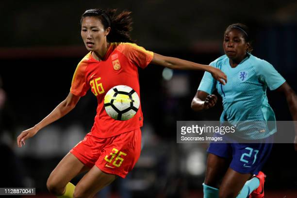 Lin Yuping of China Women, Lineth Beerensteyn of Holland Women during the Algarve Cup Women match between China PR v Holland at the Estadio Municipal...