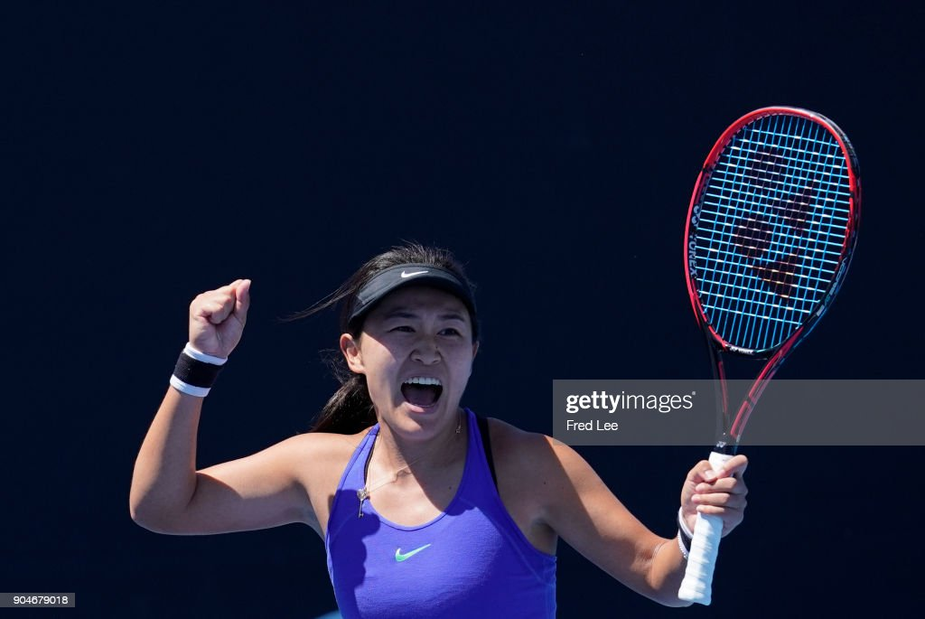 Lin Zhu of China celebrates after she defeated her compatriot 3rd round match against Alexandra Dulgheru of Romania during 2018 Australian Open Qualifying at Melbourne Park on January 14, 2018 in Melbourne, Australia.