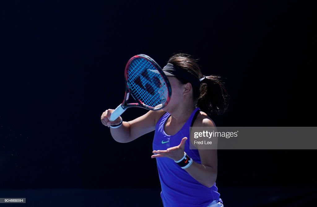 Lin Zhu of China competes in her 3rd round match against Alexandra Dulgheru of Romania during 2018 Australian Open Qualifying at Melbourne Park on January 14, 2018 in Melbourne, Australia.