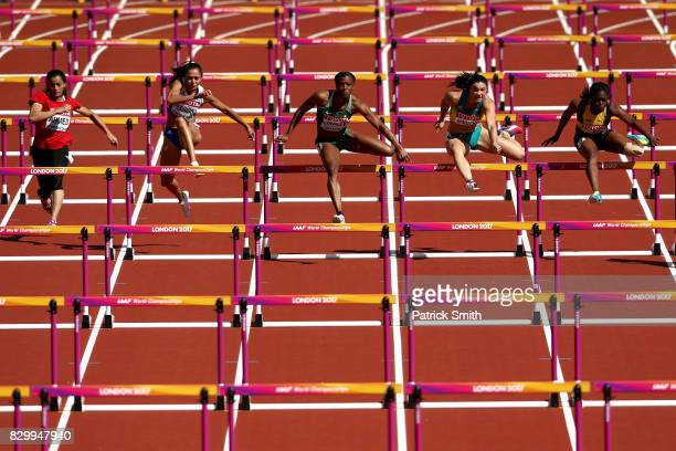 Lina Ahmed of Egypt Elisavet Pesiridou of Greece Lindsay Lindley of Nigeria Michelle Jenneke of Australia and Yanique Thompson of Jamaica compete in...