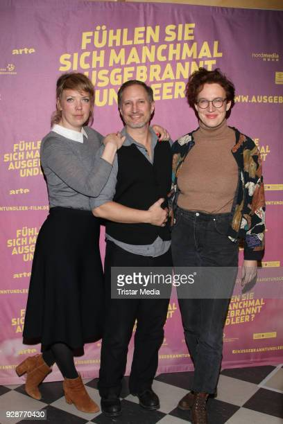 Lina Beckmann Benno Fuermann and Lola Randl attend the premiere 'Fühelen Sie sich manchmal ausgebrannt und leer' at Abaton Kino on March 7 2018 in...
