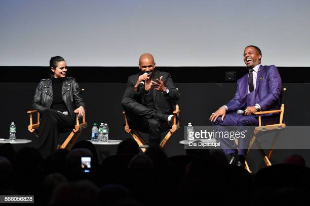 Lina Esco, Shemar Moore, and AJ Calloway attend the New York Television Festival primetime world premiere of S.W.A.T. At SVA Theatre on October 24,...