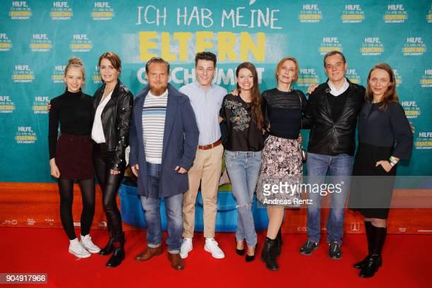 Lina Hueesker Anja Kling Axel Stein Oskar Keymer Julia Hartmann Andrea Sawatzki Tim Trageser and Christina Bentlage attend the premiere of 'Hilfe ich...