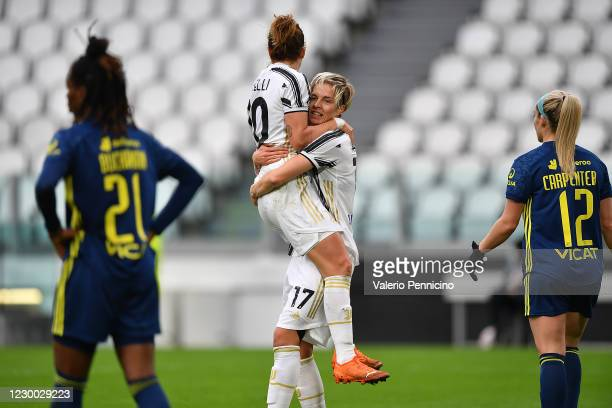 Lina Hurtig of Juventus Women celebrates the opening goal with team mate Cristiana Girelli during the UEFA Women's Champions League round of 32 first...