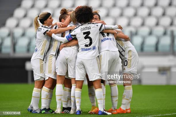 Lina Hurtig of Juventus Women celebrates the opening goal with team mates during the UEFA Women's Champions League round of 32 first leg match...