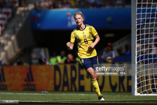 Lina Hurtig of Sweden celebrates after scoring her team's fourth goal during the 2019 FIFA Women's World Cup France group F match between Sweden and...