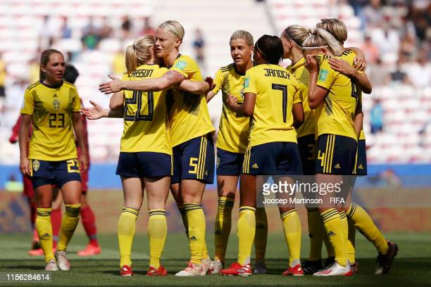 Lina Hurtig of Sweden celebrates with teammates after scoring her team's fourth goal during the 2019 FIFA Women's World Cup France group F match...