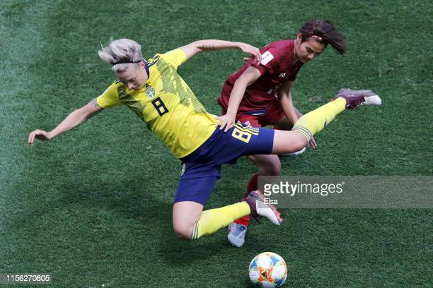 Lina Hurtig of Sweden is challenged by Ainon Phancha of Thailand during the 2019 FIFA Women's World Cup France group F match between Sweden and...
