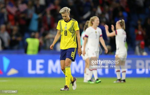 Lina Hurtig of Sweden looks dejected following her sides defeat in the 2019 FIFA Women's World Cup France group F match between Sweden and USA at...