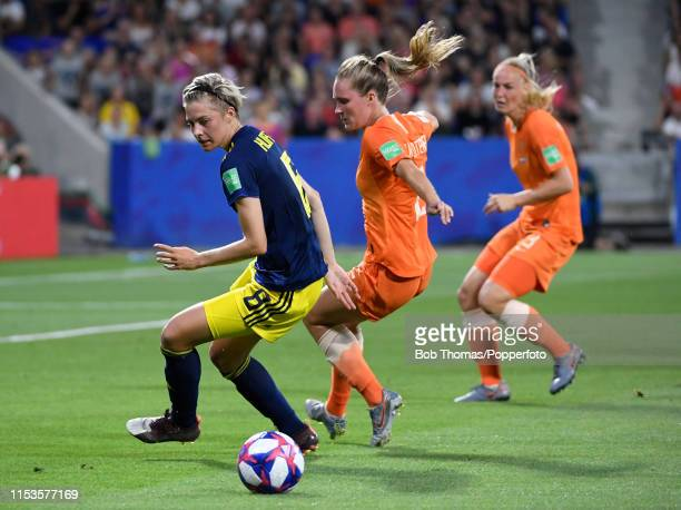 Lina Hurtig of Sweden with Desiree Van Lunteren of the Netherlands during the 2019 FIFA Women's World Cup France Semi Final match between Netherlands...